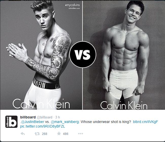 Mark Walhberg, Justin Bieber calvin klein
