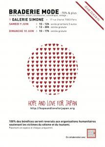 "Braderie mode pour ""Hope  & Love for Japan"""