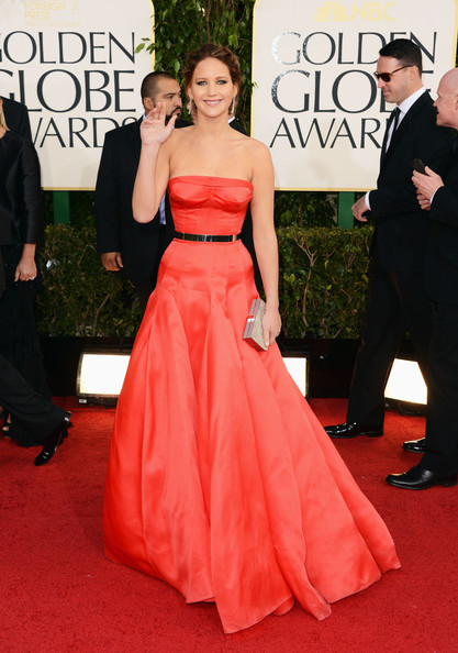Jennifer Lawrence en robe Dior aux Golden Globes 2013
