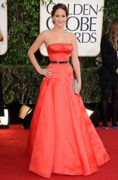 Jennifer Lawrence en robe Dior aux Golden Globes 2013