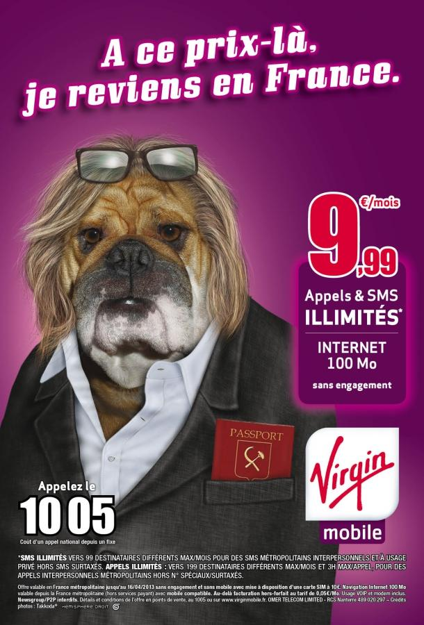 Pub Virgin Mobile sur Gérard Depardieu